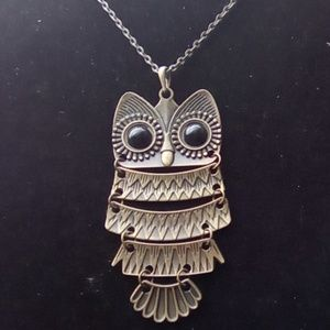 Brass Owl Pendant Necklace.